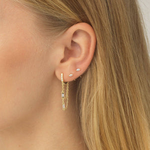 CZ Threader Hoop Earring  - Adina's Jewels