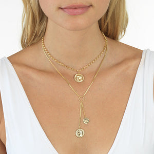 Coin Adjustable Necklace 14K  - Adina's Jewels