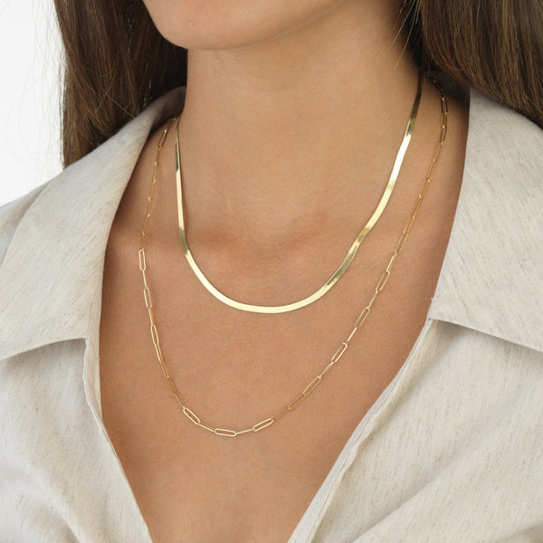 Elongated Link Necklace 14K