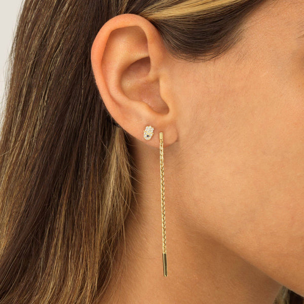 Hamsa Threaded Stud Earring 14K - Adina's Jewels