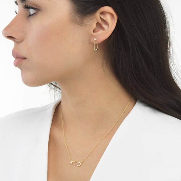 Safety Pin Earring & Necklace Combo Set - Adina's Jewels