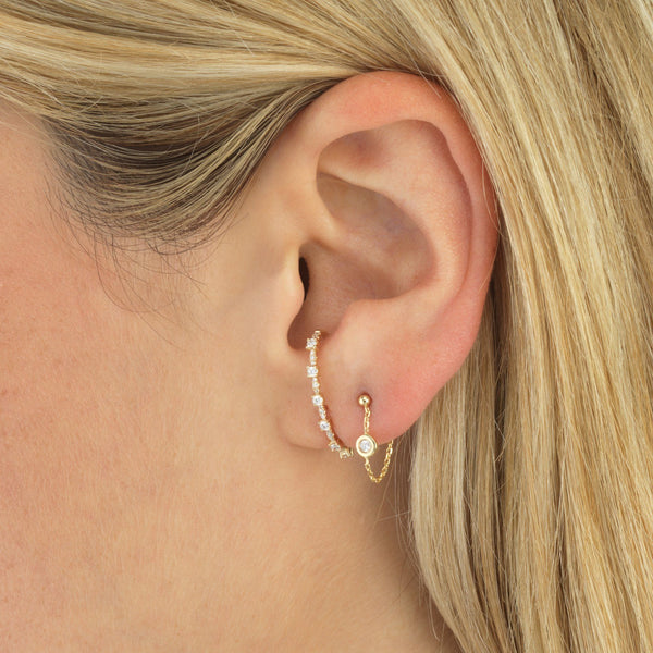 Diamond Chain Stud Earring 14K - Adina's Jewels