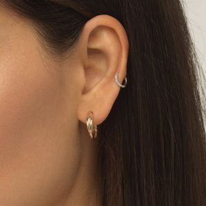 Tricolor Hoop Stud Earring 14K - Adina's Jewels