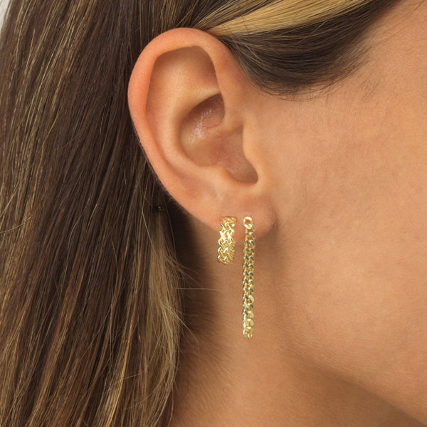 Cuban Link Drop Stud Earring - Adina's Jewels