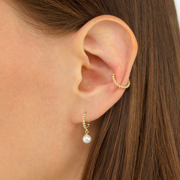 Beaded Pearl Huggie Earring - Adina's Jewels