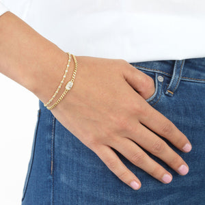 Bezel Chain Bracelet - Adina's Jewels