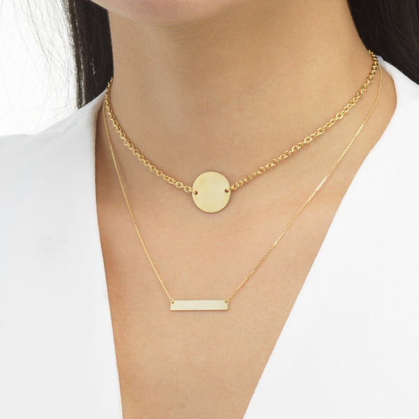Engraved Coin Choker 14K - Adina's Jewels