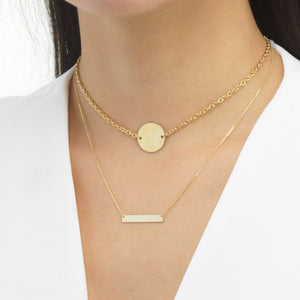 Engraved Bar Necklace 14K - Adina's Jewels