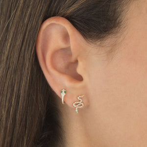 Diamond Snake Huggie Earring 14K - Adina's Jewels
