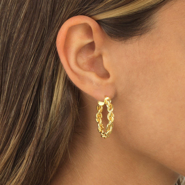 Knotted Chain Hoop Earring - Adina's Jewels