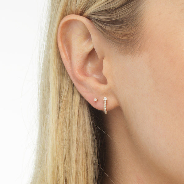 Diamond Hook Stud Earring Combo Set 14K