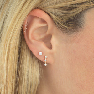 Trio Stone Drop Stud Earring 14K - Adina's Jewels