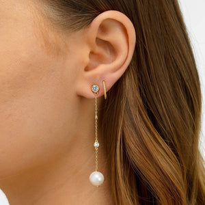 Pearl Bezel Drop Stud Earring - Adina's Jewels