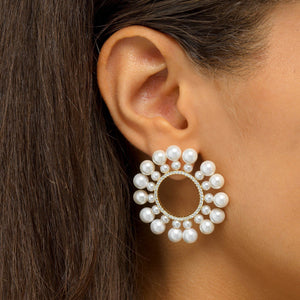 Pearl Circle Stud Earring - Adina's Jewels