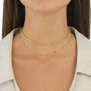 Moon-Cut Beads Choker 14K - Adina's Jewels