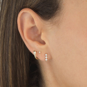 Diamond Square Stud Earring 14K - Adina's Jewels