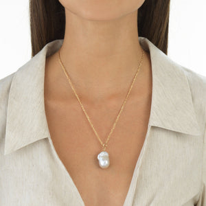 Baroque Pearl Necklace 14K - Adina's Jewels