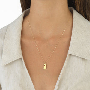 Heart Dog Tag Necklace 14K - Adina's Jewels