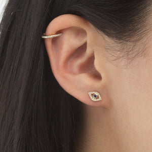 Diamond Evil Eye Stud Earring 14K - Adina's Jewels