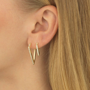Pavé Triangular Hoop Earring - Adina's Jewels