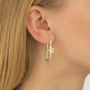 Serpent Rectangular Hoop Earring  - Adina's Jewels