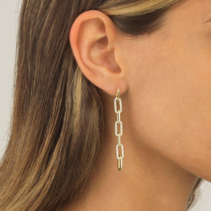 Pavé Link Drop Stud Earring  - Adina's Jewels