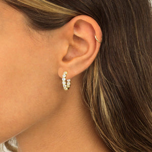 CZ Mini Round Hoop Earring - Adina's Jewels