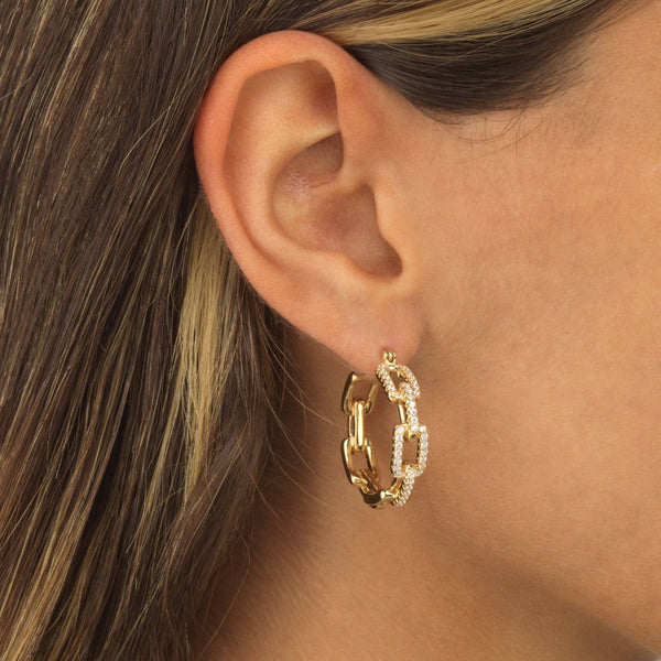 Pavé Chain Hoop Earring - Adina's Jewels