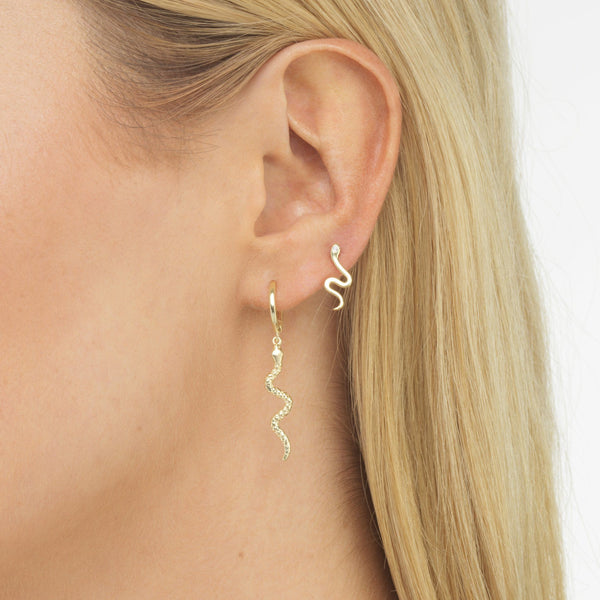 Dangling Serpent Huggie Earring