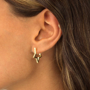 Open Star Hoop Earring  - Adina's Jewels