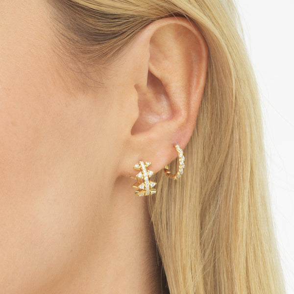 CZ Rope Huggie Earring - Adina's Jewels