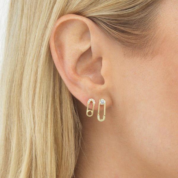 Extra Small Safety Pin Stud Earring - Adina's Jewels
