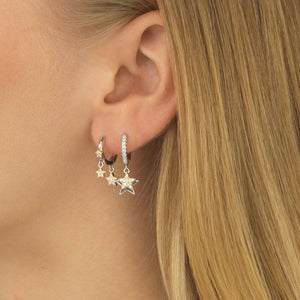 Two-Tone Pavé Star Huggie Earring  - Adina's Jewels