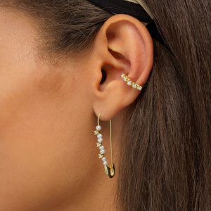 Pearl Safety Pin Earring  - Adina's Jewels