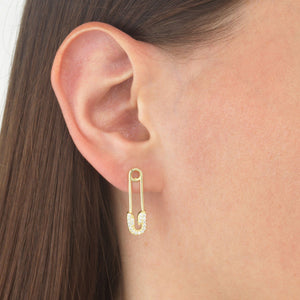 Pavé Safety Pin Stud Earring - Adina's Jewels