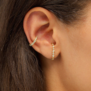 Twisted Bezel Hook Stud Earring - Adina's Jewels