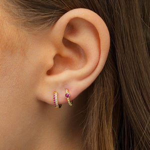 Mini Bezel Huggie Earring - Adina's Jewels