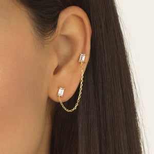 Double Baguette Chain Stud Earring - Adina's Jewels