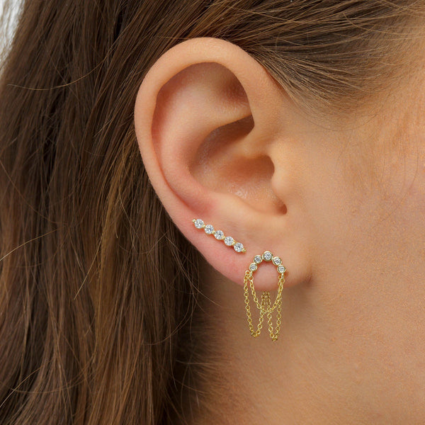 Long Bezel Stud Earring - Adina's Jewels