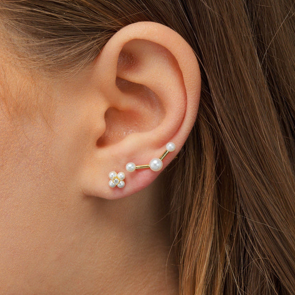 Pearl Trio Ear Climber - Adina's Jewels
