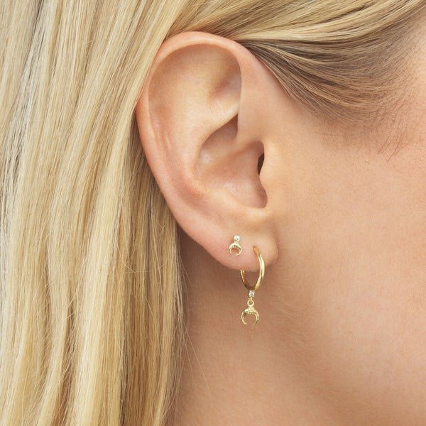 Cowhorn Hoop Stud Earring - Adina's Jewels