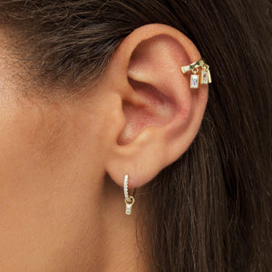 Dangling Baguette Ear Cuff - Adina's Jewels