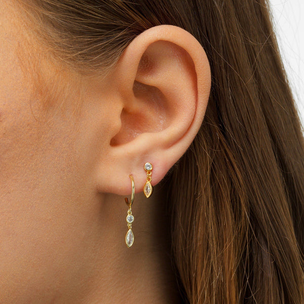 Dangling Bezel Stud Earring - Adina's Jewels