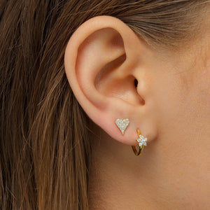 Crystal Flower Huggie Earring - Adina's Jewels