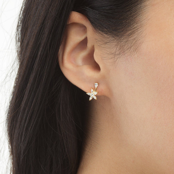 Flower Teardrop Stud Earring - Adina's Jewels