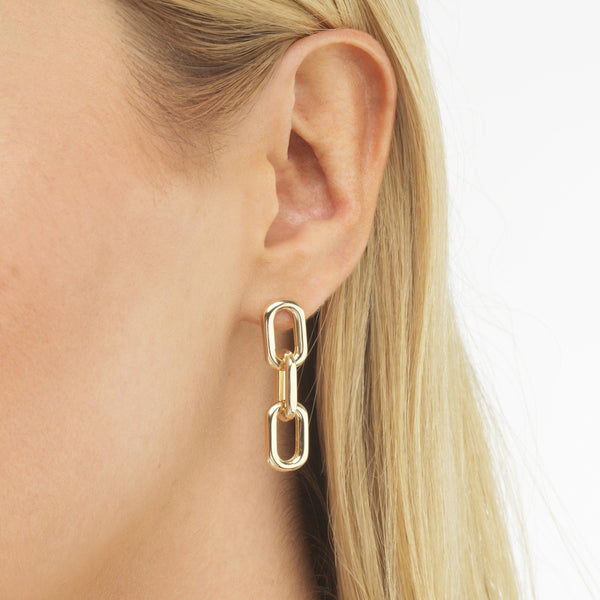 Large Link Drop Stud Earring - Adina's Jewels