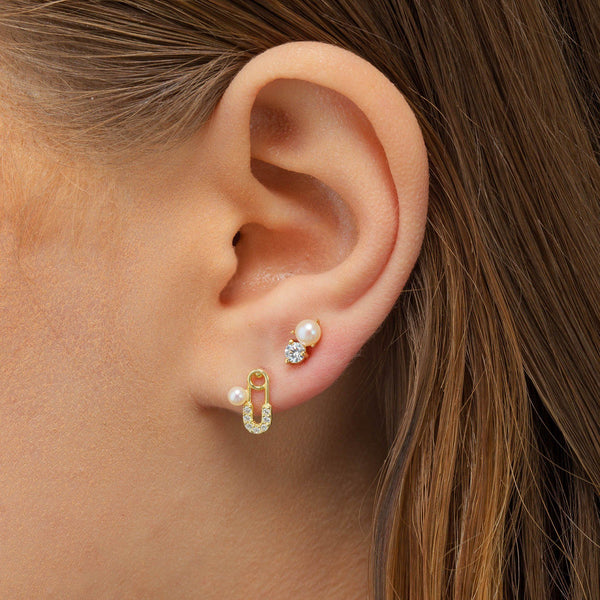 CZ Pearl Safety Pin Stud Earring - Adina's Jewels