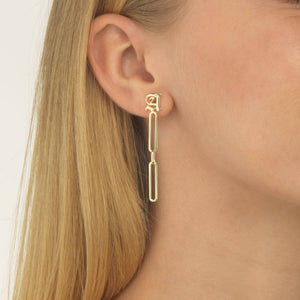 Old English X Open Link Drop Stud Earring  - Adina's Jewels