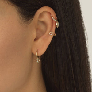 Open Heart Threaded Stud Earring 14K  - Adina's Jewels