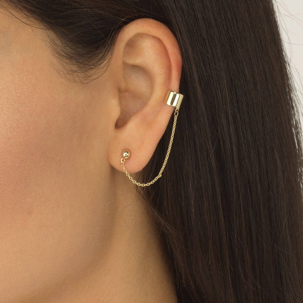 Chain Stud Ear Cuff 14K - Adina's Jewels
